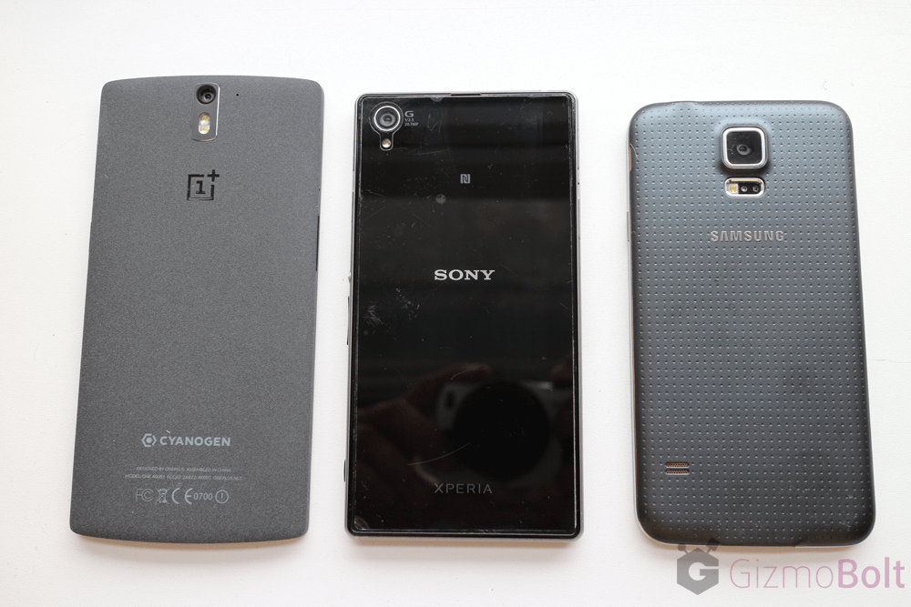 Galaxy S5 vs OnePlus One vs Xperia Z1 size comparison