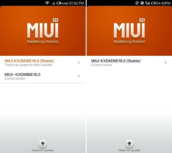 Xiaomi Mi 3 MIUI KXDMIBE18.0 update