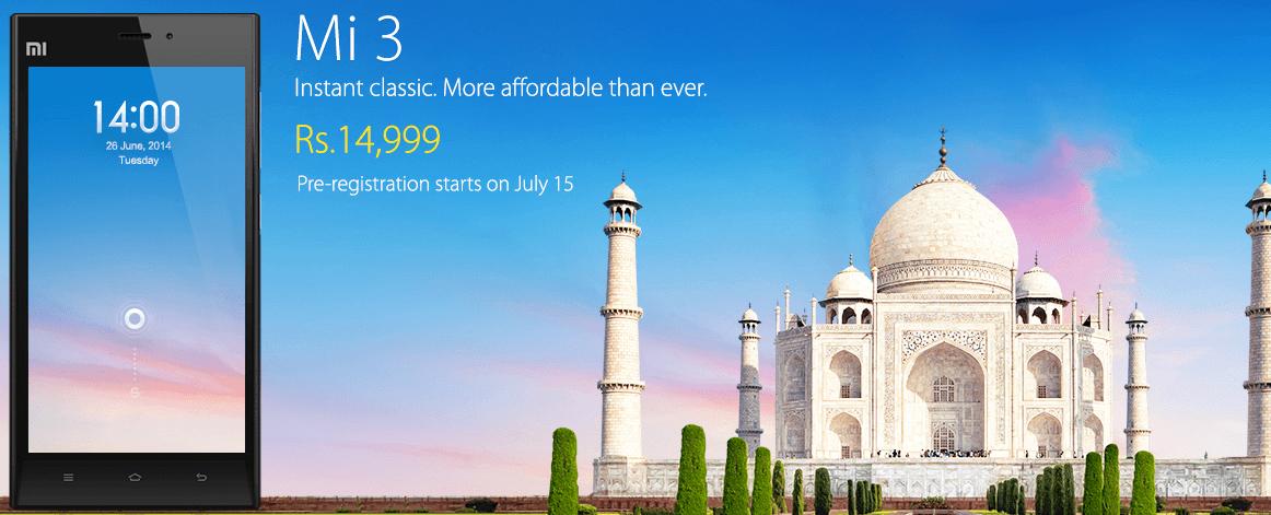 Xiaomi Mi 3 availability in India