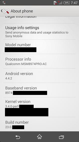 Xperia Z3 Compact android 4.4.2 fimrware