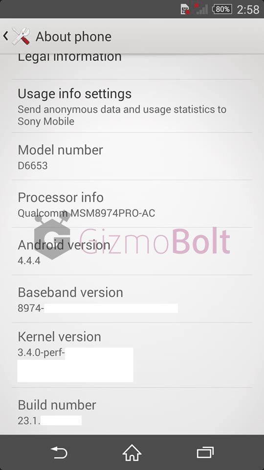 Xperia Z3 Screenshot about phone