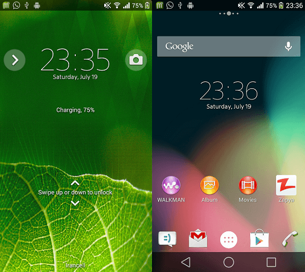 Xperia Android L9 Theme preview