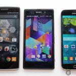 Galaxy S5 vs OnePlus One vs Xperia Z1 size comparison pics