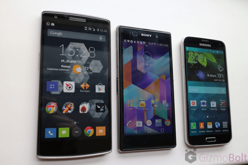 Galaxy S5 vs OnePlus One vs Xperia Z1 viewing angles