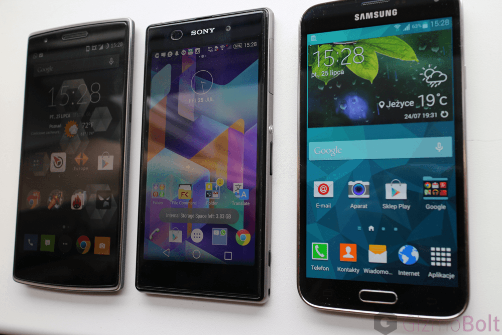 Galaxy S5 vs OnePlus One vs Xperia Z1 viewing angles comparison