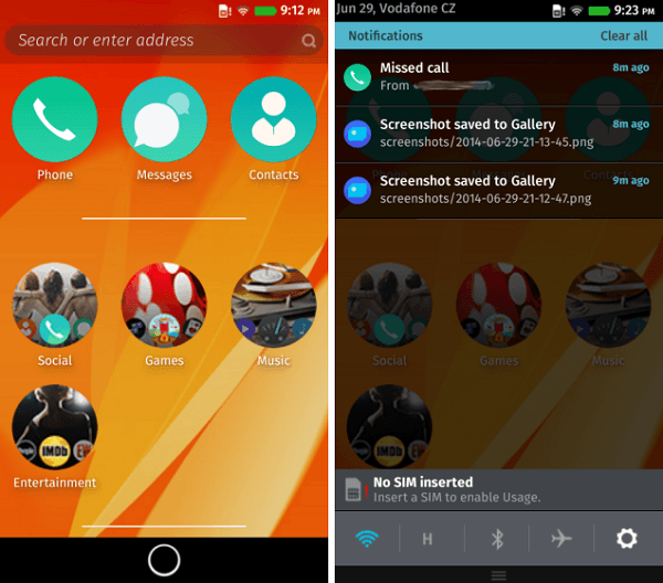 Firefox OS Xperia SP home screen