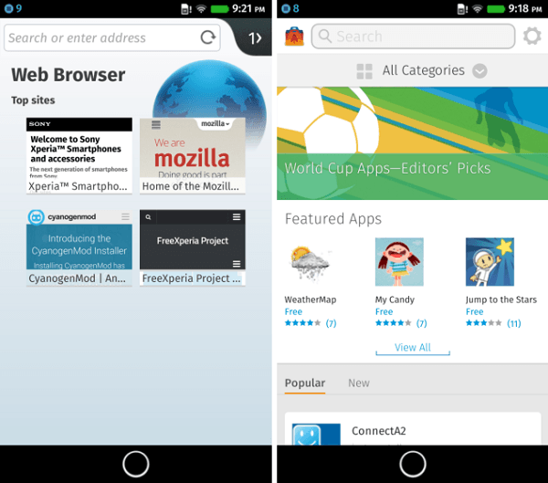 Firefox OS Xperia SP Browser