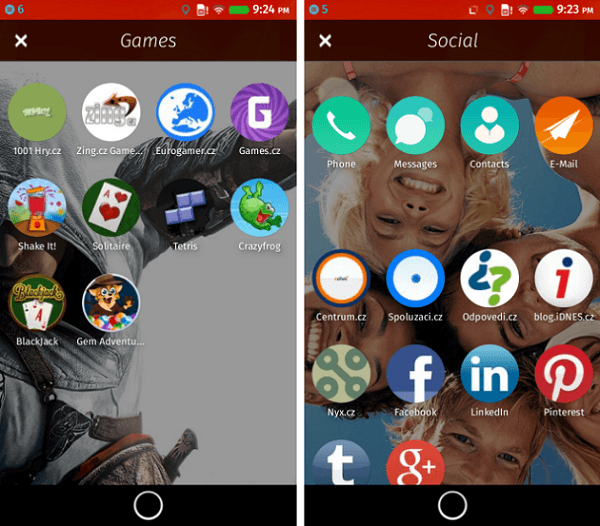 Firefox OS Xperia SP Menu options