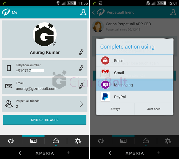 PERPETUALL contacts updated android app