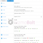 Sony D2203 specifications leaked on GFXBench benchmark – 6.1″ FWVGA display, Snapdragon 400