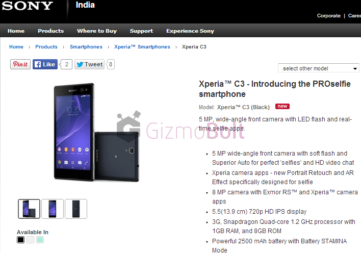 Xperia C3 launched in India at price rs 23990