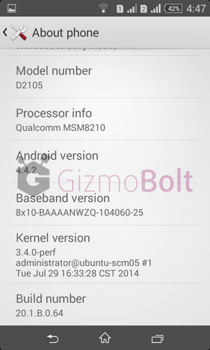 Xperia E1 Dual 20.1.B.0.64 firmware screenshots