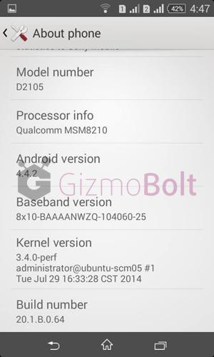 Xperia E1 Dual 20.1.B.0.64 firmware screenshots
