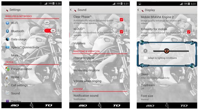 Xperia Moto Love theme UI