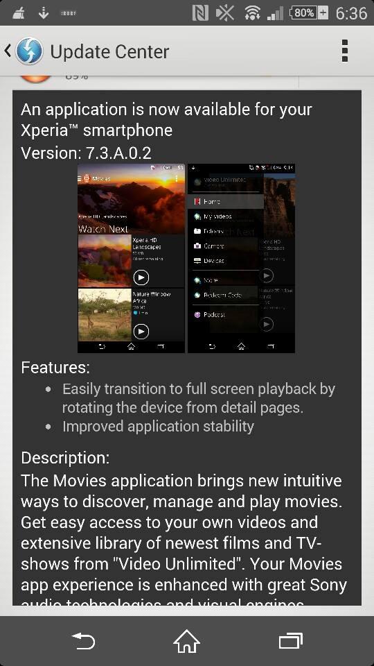 Movies 7.3.A.0.2 app