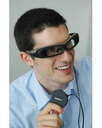 Person wearing Sony SmartEyeglass development prototype