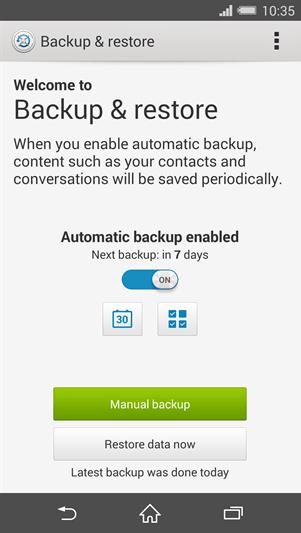 Xperia Z3 Backup & restore App port