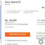 Flipkart lists Xperia Z3 for Rs 49990, Z3 Compact for Rs 42990 in India