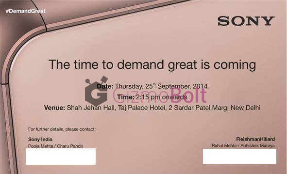 Xperia Z3 launch event on 25 Sept in India