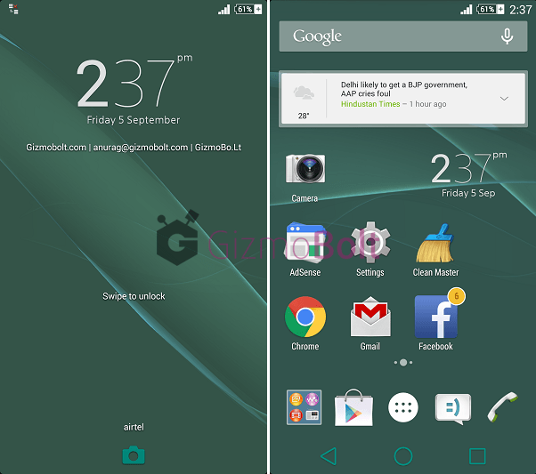 Xperia Z3 Home 7.0.A.0.14 version