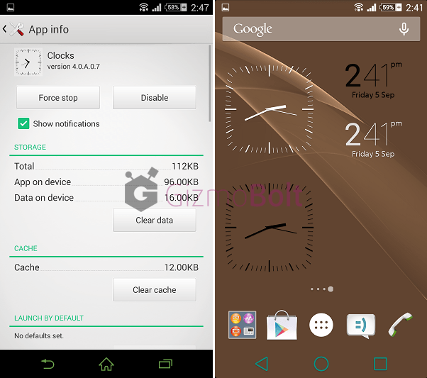 Xperia Z3 Clock app 4.0.A.0.7 version