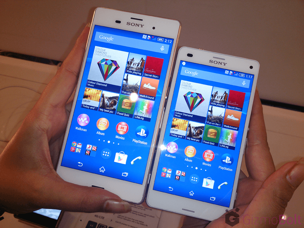 White Xperia Z3 vs Z3 Compact Comparison