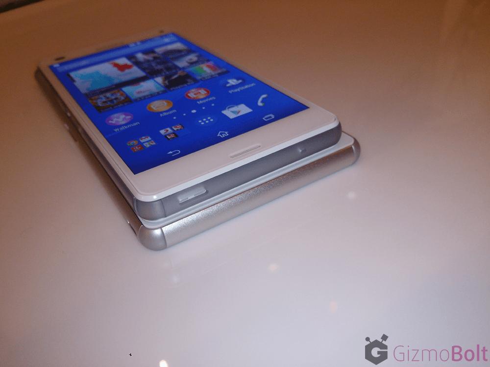 White Xperia Z3 thickness vs Z3 Compact comparison