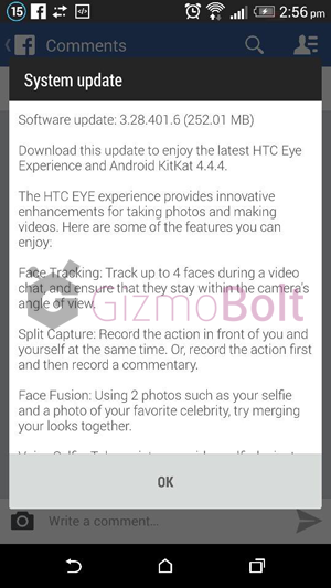 HTC One M8 Android 4.4.4 3.28.401.6 update