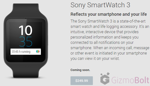 Sony SmartWatch 3 priced at $249.99