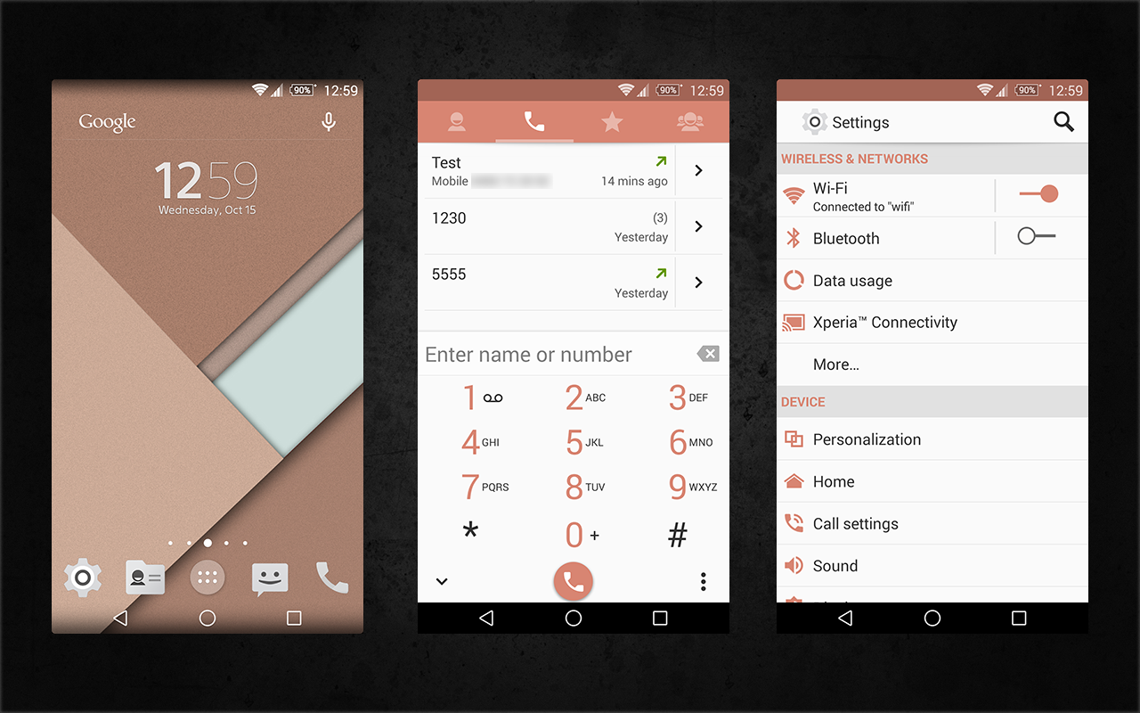 Xperia Android 5.0 L Material Design Copper Theme