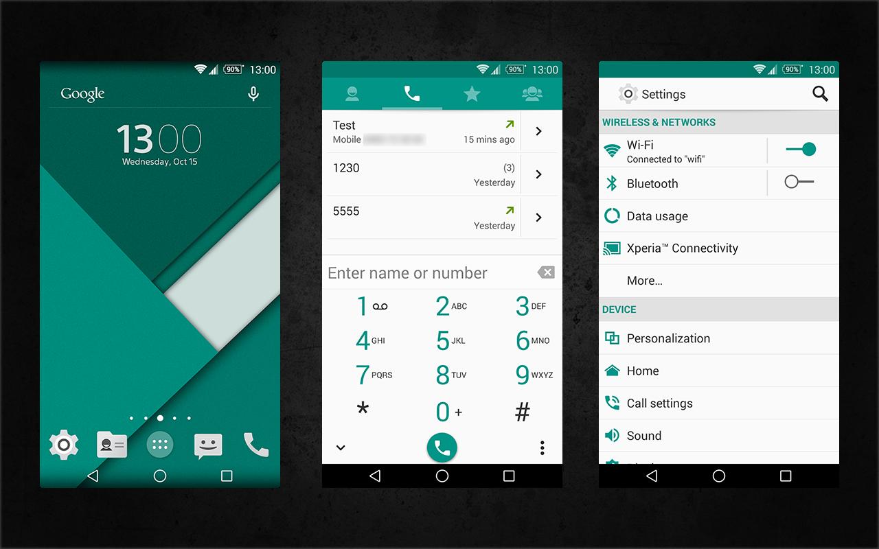 Xperia Android 5.0 L Material Design Emerald Theme