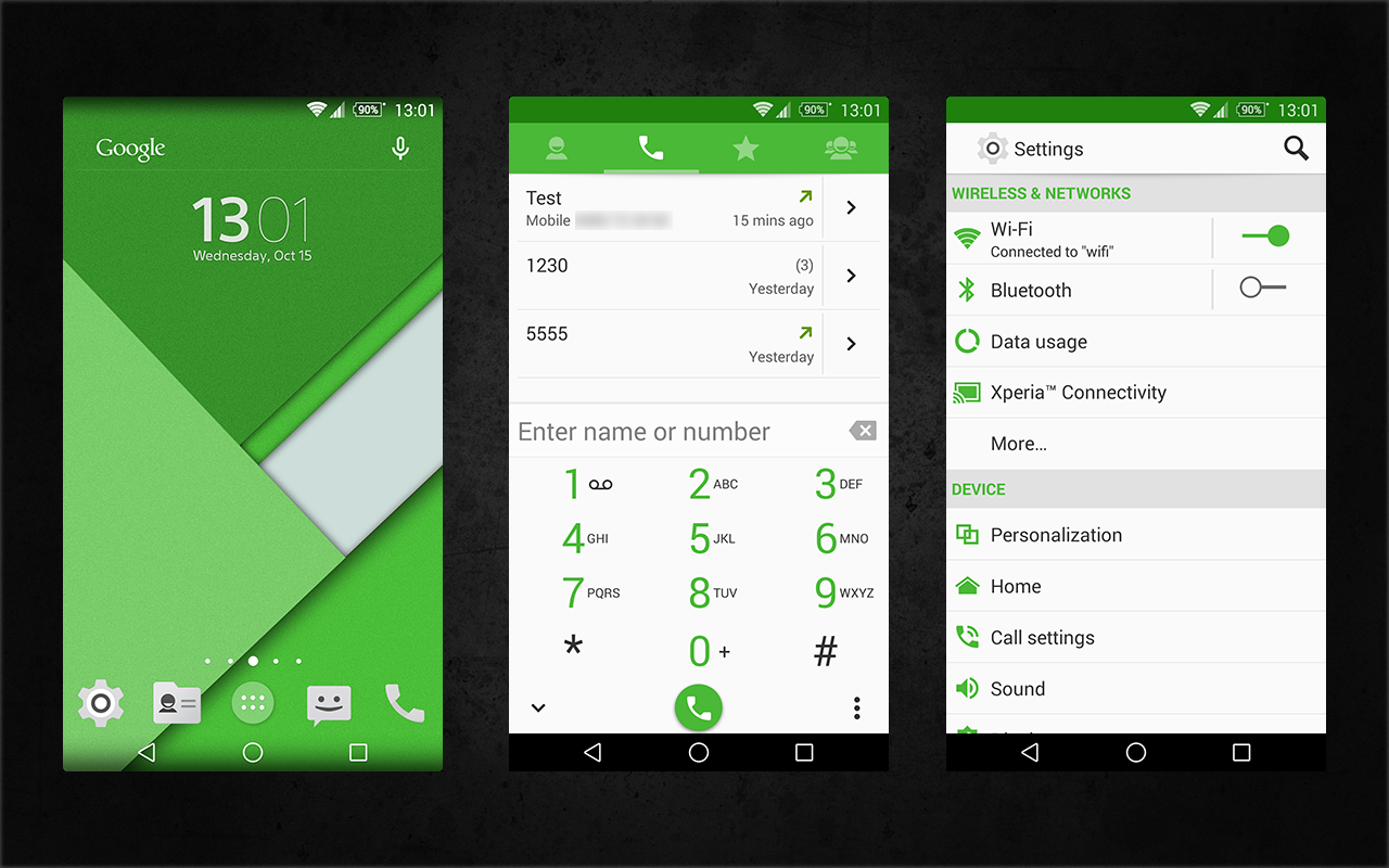 Xperia Android 5.0 L Material Design Green Theme