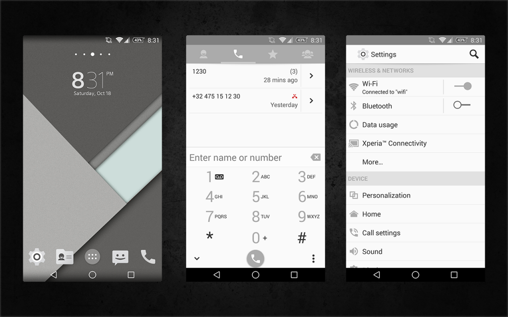 Xperia Android 5.0 L Material Design Grey Theme