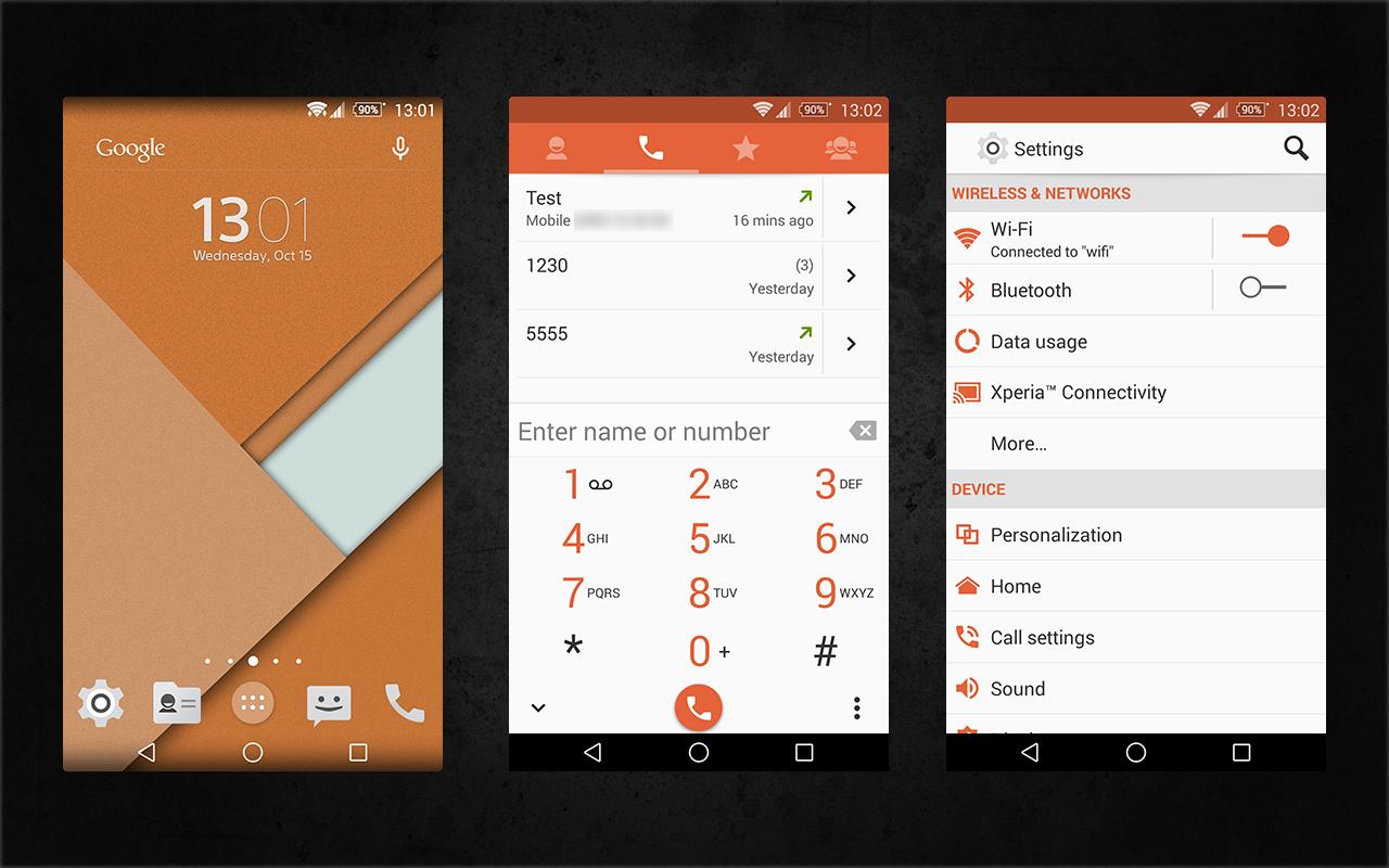 Xperia Android 5.0 L Material Design Orange Theme