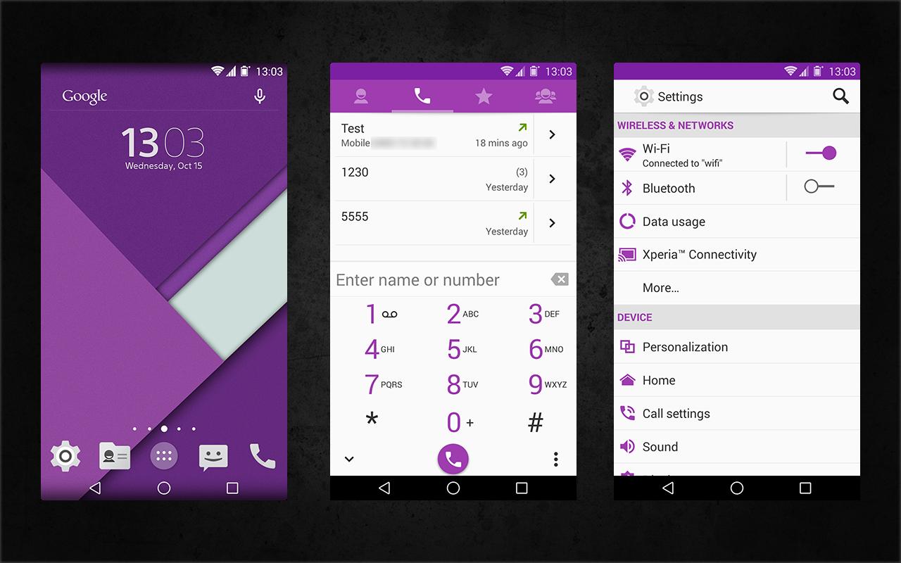 Xperia Android 5.0 L Material Design Purple Theme