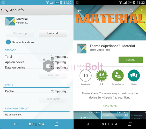 Xperia MateriaL eXperiance theme