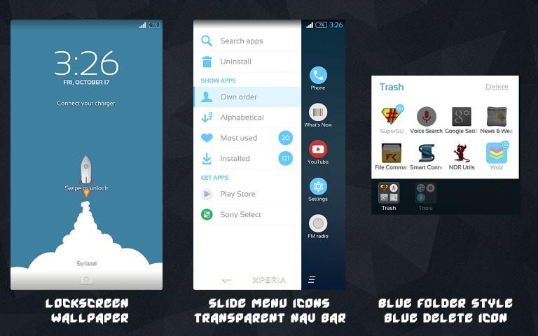 Install Pure Xperia Blue Flat Theme