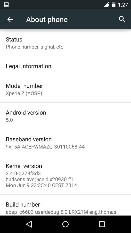 Xperia Z Android 5.0 Lollipop AOSP ROM