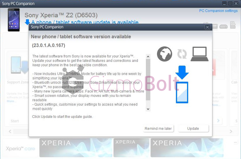 Xperia Z2 23.0.1.A.0.167 firmware rolling