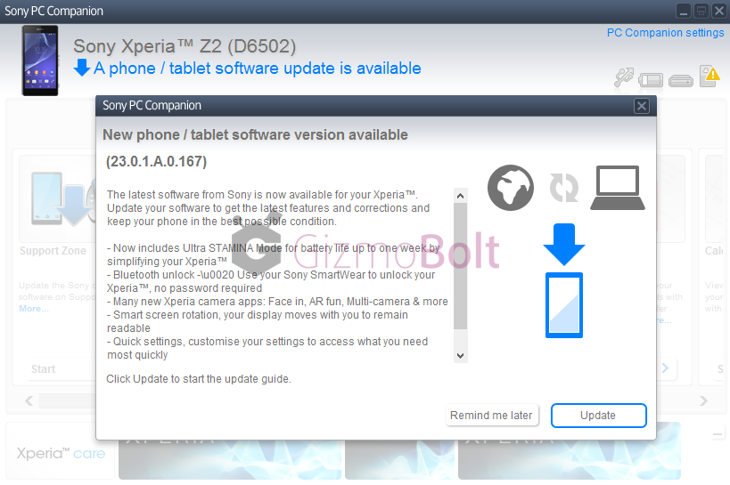 Xperia Z2 Android 4.4.4 23.0.1.A.0.167 PC Companion India update