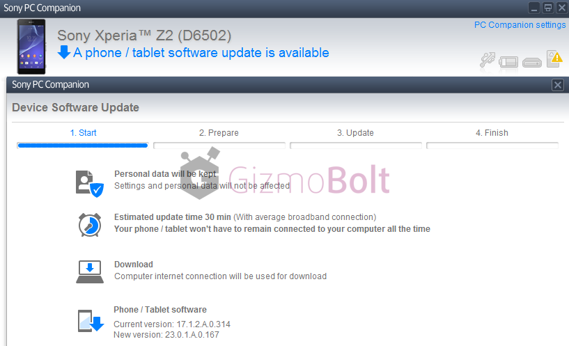 Xperia Z2 Android 4.4.4 23.0.1.A.0.167 firmware PC India