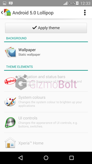 Unofficial Xperia Android 5.0 Lollipop Theme