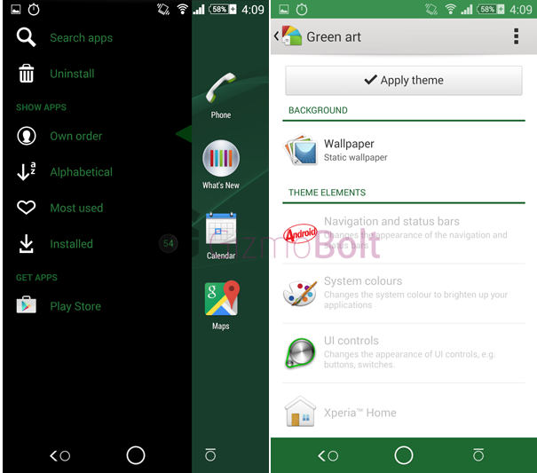 Download Xperia Green Art Theme