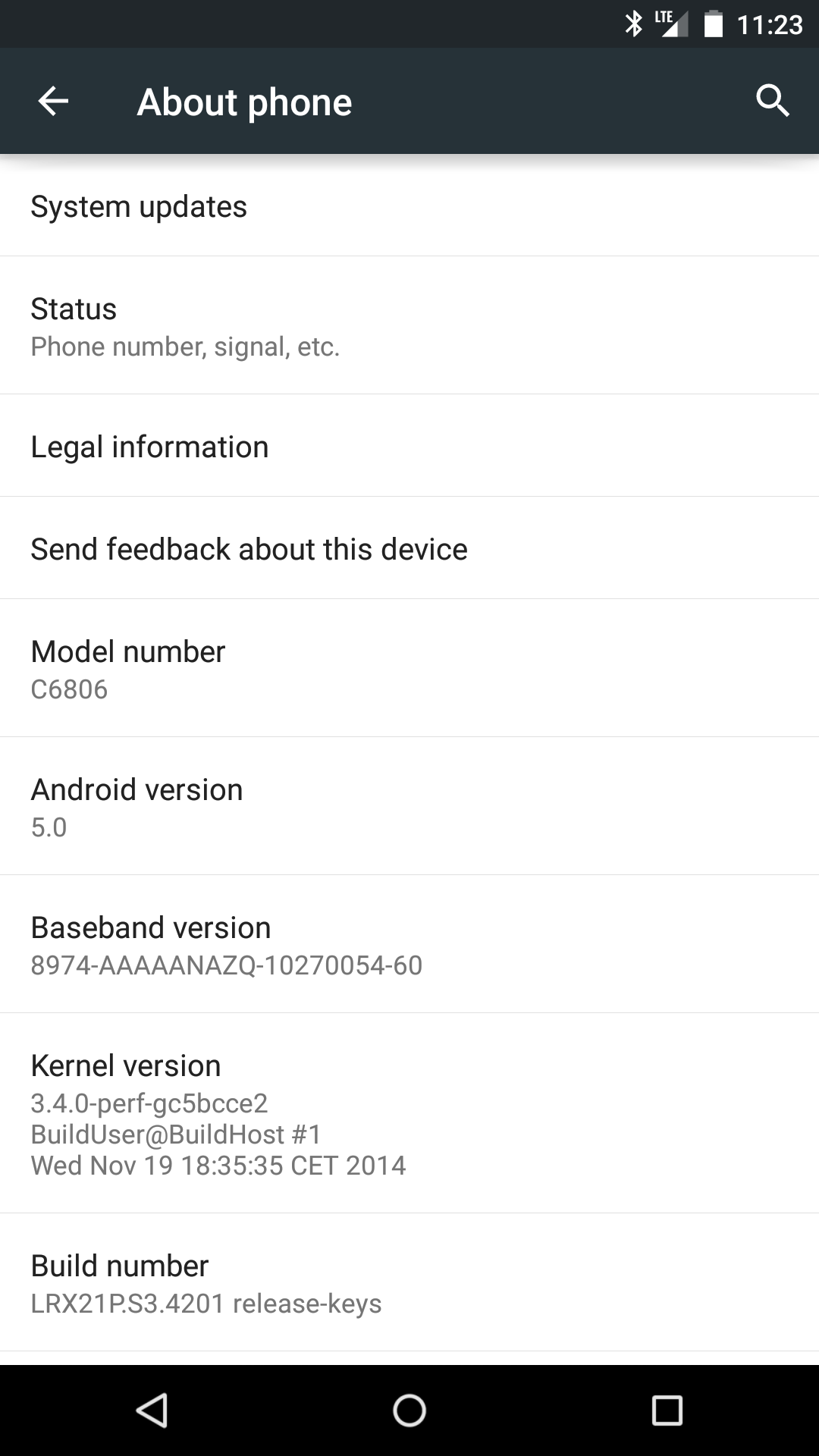 LRX21P.S3.4201 Sony Z Ultra C6806 Lollipop 5.0 Update