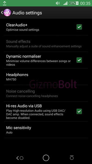 Sony BSP10 speaker Audio Settings
