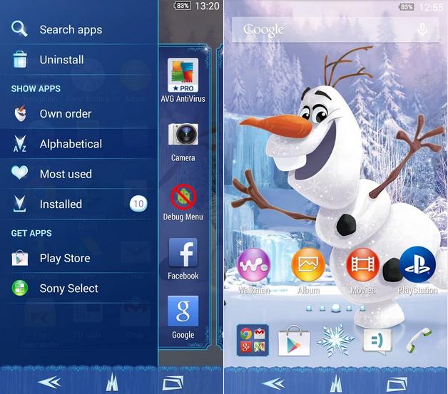 Download Xperia Frozen Oalf Theme apk