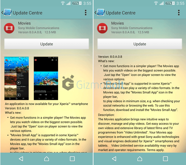 Sony Movies 8.0.A.0.8 app