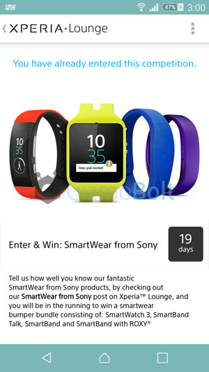 Sony is giving Away SmartWatch 3 free