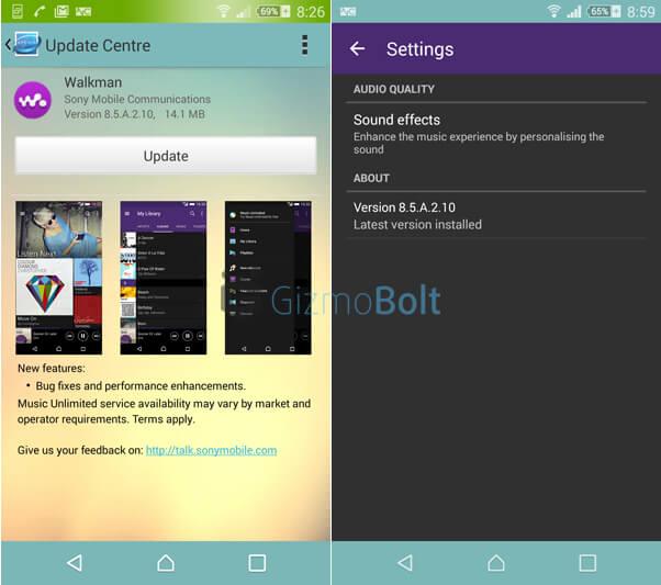 Walkman 8.5.A.2.10 app