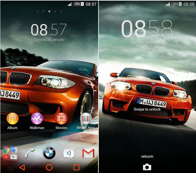 Xperia BMW Auto Orange Theme
